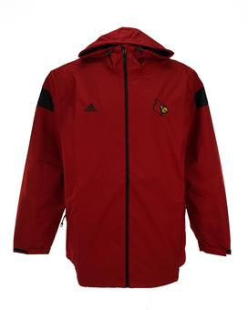 Louisville Cardinals Adidas Maroon Sideline Hooded Full Zip Jacket (Adult S)