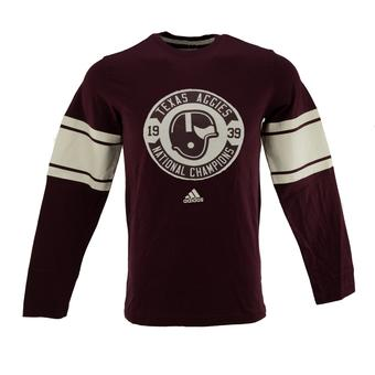 Texas A&M Aggies Adidas Maroon Retro Long Sleeve Tee Shirt (Adult M)