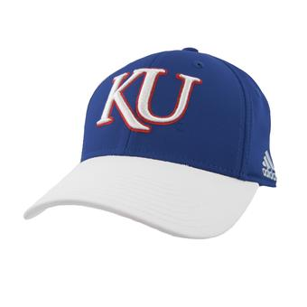 Kansas Jayhawks Adidas Blue Ice Flex Fit Hat (Adult S/M)