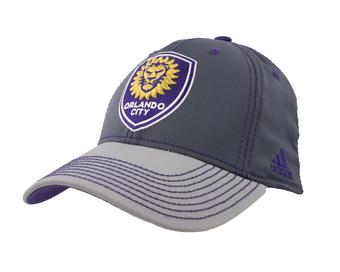 Orlando City Lions SC Adidas Gray Two Tone Structured Flex Fit Hat