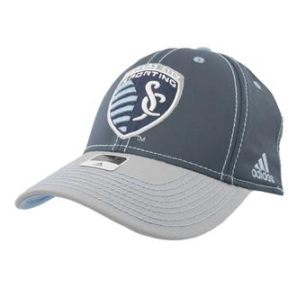 Kansas City Sporting Adidas Gray Two Tone Structured Flex Fit Hat (Adult L/XL)