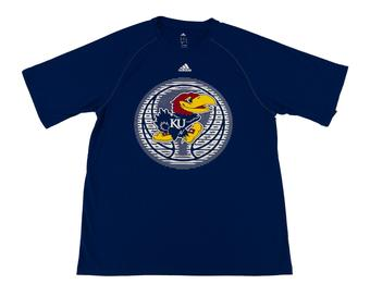 Kansas Jayhawks Adidas Blue Climalite Performance Tee Shirt (Adult L)