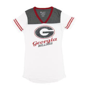 Georgia Bulldogs Colosseum Womens White Starfire V-Neck Tee Shirt (Womens S)