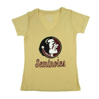 Florida State Seminoles Colosseum Womens Gold Vegas V-Neck Tee Shirt (Womens L)