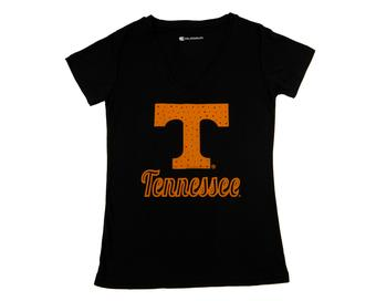 Tennessee Volunteers Colosseum Womens Black Vegas V-Neck Tee Shirt (Womens XL)