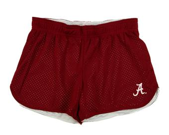 Alabama Crimson Tide Colosseum Reversible Maroon & White Twist Mesh Shorts (Womens L)