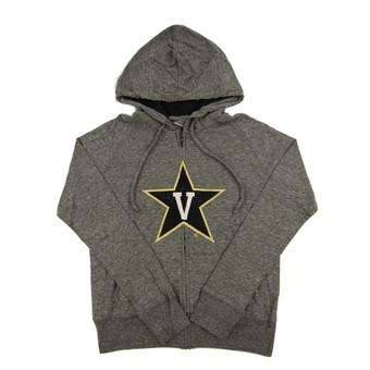 Vanderbilt Commodores Colosseum Gray Tri Blend Full Zip Hoodie (Womens M)