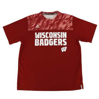 Wisconsin Badgers Adidas Red Climalite Performance Tee Shirt (Adult XXL)