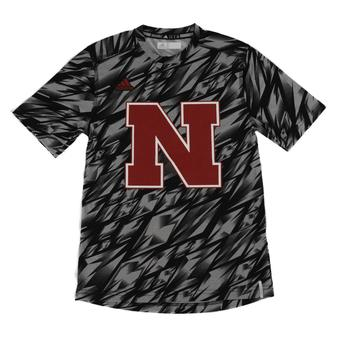 Nebraska Cornhuskers Adidas Black Climalite Performance Training Tee Shirt (Adult L)