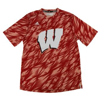 Wisconsin Badgers Adidas Red Climalite Performance Training Tee Shirt (Adult XXL)