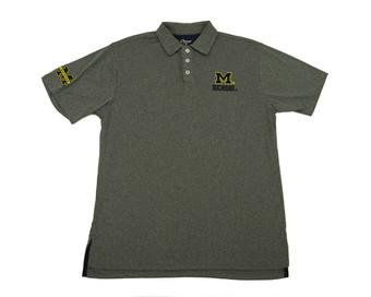Michigan Wolverines Colosseum Heather Grey Halftime Performance Polo (Adult XXL)