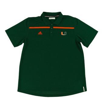 Miami Hurricanes Adidas Green Climalite Performance Coaches Polo (Adult XL)