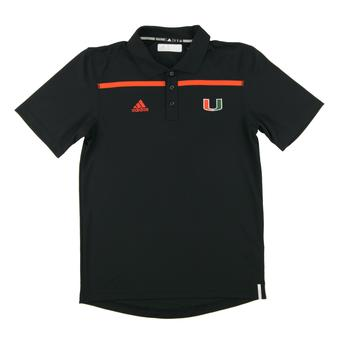Miami Hurricanes Adidas Black Climalite Performance Coaches Polo Shirt