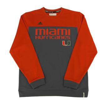 Miami Hurricanes Adidas Grey Climalite Performance Long Sleeve Tee Shirt (Adult L)