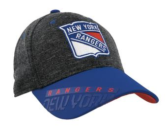 New York Rangers Reebok Gray Center Ice Playoff Structured Flex Fit Hat (Adult L/XL)