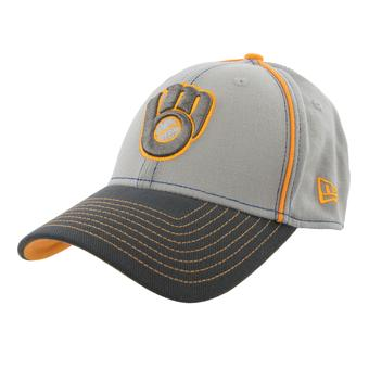Milwaukee Brewers New Era 39Thirty Gray Grafpipe Classic Flex Fit Hat (Adult L/XL)
