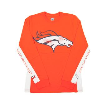 Denver Broncos Hands High Orange Long Sleeve Tee Shirt (Adult Large)