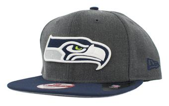 Seattle Seahawks New Era 9Fifty Basic Gray Flat Brim Snapback Hat (Adult One Size)