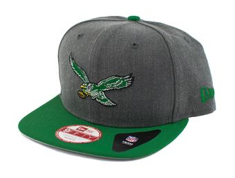 Philadelphia Eagles New Era 9Fifty Basic Gray Retro Flat Brim Snapback Hat (Adult One Size)