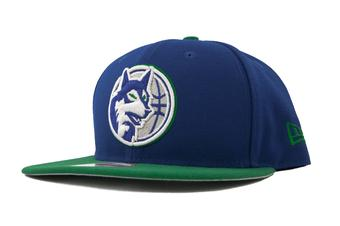 Minnesota Timberwolves New Era 9Fifty Blue Hardwood Classics Flat Brim Snapback Hat (Adult OSFA)