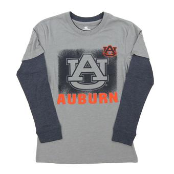 Auburn Tigers Colosseum Grey Youth Flanker Dual Blend Long Sleeve Layered Tee Shirt (Youth Small)