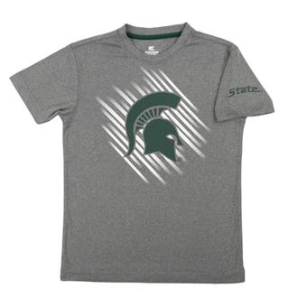 Michigan State Spartans Colosseum Grey Youth Performance Position Tee Shirt (Youth L)