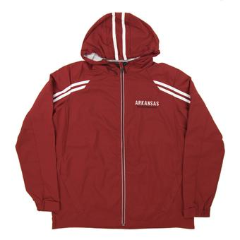 Arkansas Razorbacks Colosseum Maroon Storm Wind Performance Full Zip Hooded Jacket (Adult Large)