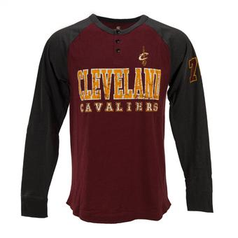 Cleveland Cavaliers Colosseum Maroon Spotter Long Sleeve Henley Tee Shirt (Adult M)