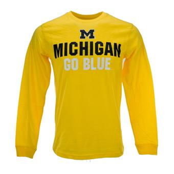 Michigan Wolverines Colosseum Yellow Black Ice Long Sleeve Tee Shirt (Adult L)