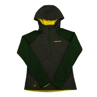 Oregon Ducks Colosseum Gray Freestyle 1/4 Zip Performance Fleece Hoodie (Womens L)