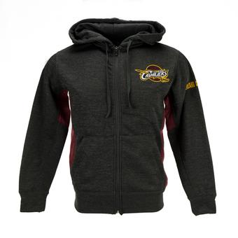 Cleveland Cavaliers Colosseum Grey Surge Full Zip Performance Fleece Hoodie (Adult L)