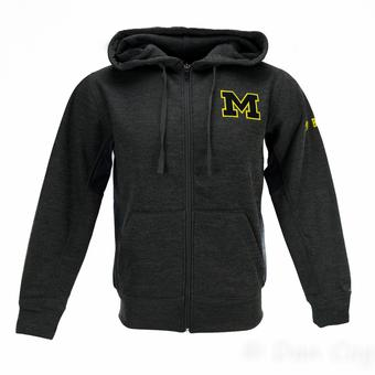 Michigan Wolverines Colosseum Grey Surge Full Zip Performance Fleece Hoodie (Adult XXL)