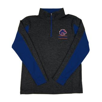Boise State Broncos Colosseum Grey Friction 1/4 Zip Performance Long Sleeve Shirt (Adult M)