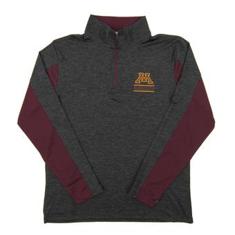 Minnesota Golden Gophers Colosseum Grey Friction 1/4 Zip Performance Long Sleeve Shirt (Adult Small)
