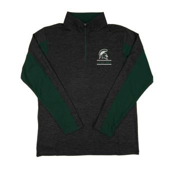 Michigan St. Spartans Colosseum Grey Friction 1/4 Zip Performance Long Sleeve Shirt (Adult XL)