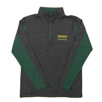 Oregon Ducks Colosseum Gray Friction 1/4 Zip Performance Long Sleeve Shirt (Adult Medium)