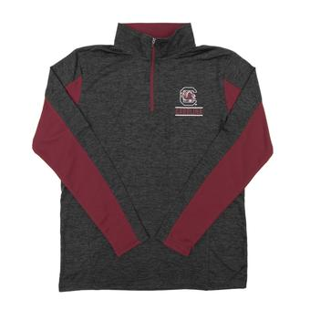 South Carolina Gamecokcs Colosseum Grey Friction 1/4 Zip Performance Long Sleeve Shirt (Adult XL)