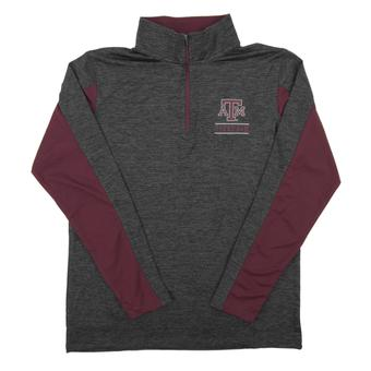 Texas A&M Colosseum Grey Friction 1/4 Zip Performance Long Sleeve Shirt (Adult Small)