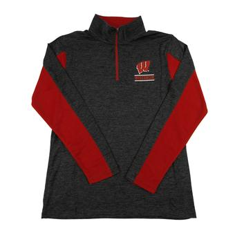 Wisconsin Badgers Colosseum Gray Friction 1/4 Zip Performance Long Sleeve Shirt (Adult S)