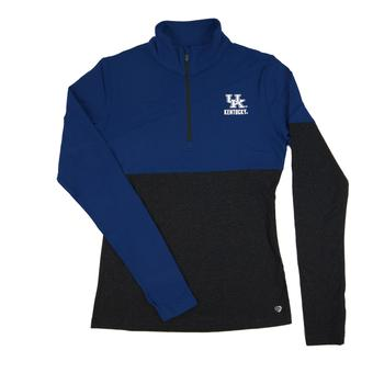 Kentucky Wildcats Colosseum Blue Pinwheel 1/4 Zip Performance Long Sleeve Shirt (Womens S)