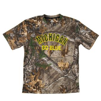 Michigan Wolverines Colosseum Real Tree Trail Performance Short Sleeve Tee Shirt (Adult XXL)