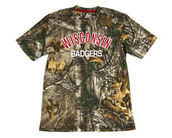 Wisconsin Badgers Colosseum Real Tree Trail Performance Short Sleeve Tee Shirt (Adult XXL)