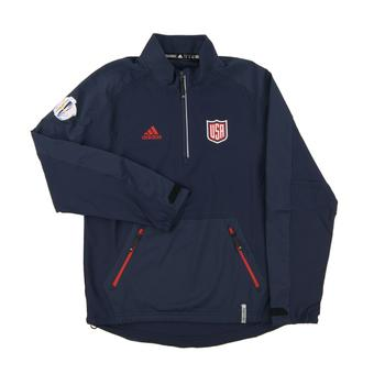 Team USA World Cup Adidas Navy Climalite Performance 1/4 Zip LS Shirt (Adult Medium)