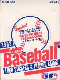 1988 Fleer Baseball Rack Box