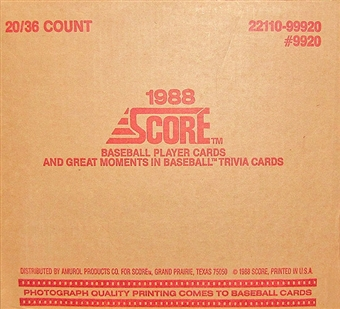 1988 Score Baseball Wax 20-Box Case