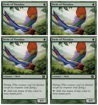 Magic the Gathering 8th Edition PLAYSET 4x Birds of Paradise - NEAR MINT (NM)
