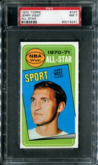 1970/71 Topps Basketball #107 Jerry West All Star PSA 7 (NM) *9241