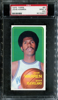 1970/71 Topps Basketball #91 John Warren PSA 9 (MINT) (OC) *2677