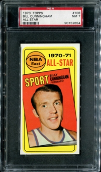 1970/71 Topps Basketball #108 Billy Cunningham All Star PSA 7 (NM) *2854