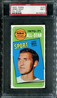 1970/71 Topps Basketball #107 Jerry West All Star PSA 7 (NM) *2918